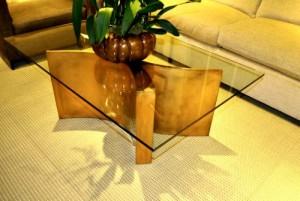 Glass table, sharp edges