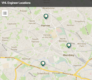 Map, locating VHL plumbing engineers
