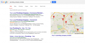 Google search result for plumbing company reviews