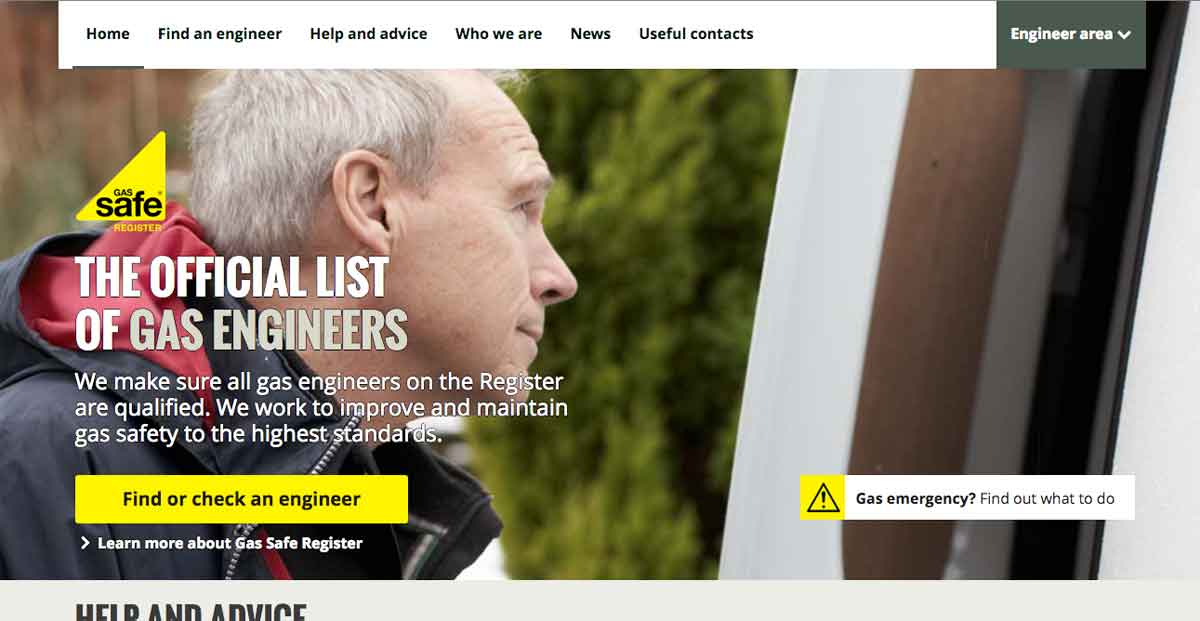 Gas Safe register website