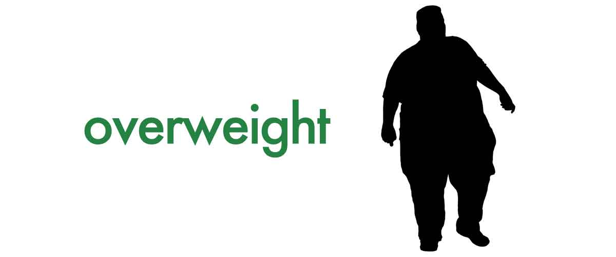 Silhouette of overweight man