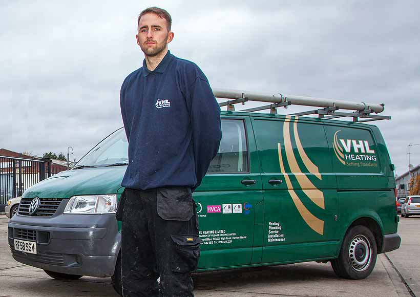 VHL gas engineer in front of van