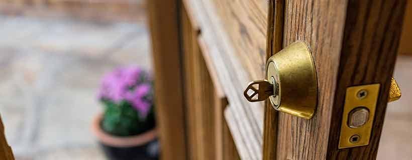 Key in open door, providing access