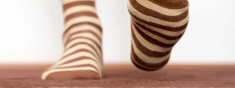 Socks walking on carpet